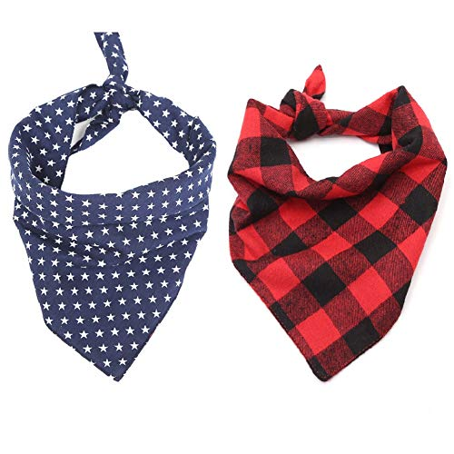 - Stock Show 2Pack Pet Plaid Bandanas Dog Cat Cute Fashion Xmas Snowflakes Double Layer Cotton Triangle Bibs Scarves for Small Medium Large Dogs Breeds Cats