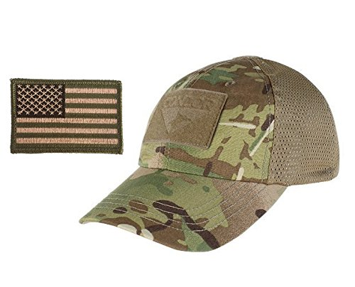 Condor Multicam Mesh Tactical Cap & USA Flag Patch Stitching & Excellent Fit for Most Head Sizes (Tactical Hat With Patch)