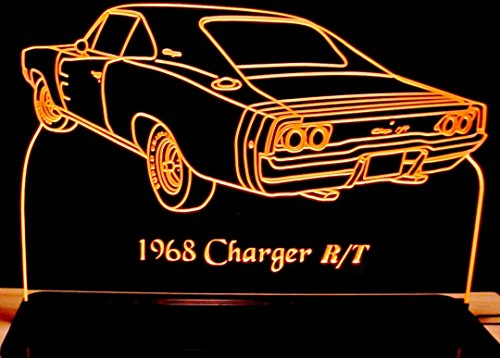 Dodge Charger Base - 1968 Dodge Charger Rear View Acrylic Lighted Edge Lit 12