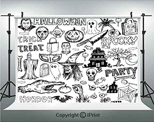 Vintage Halloween Photography Backdrops Hand Drawn Halloween Doodle Trick or Treat Knife Party Severed Hand Decorative,Birthday Party Background Customized Microfiber Photo Studio Props,5x3ft,Black Wh ()