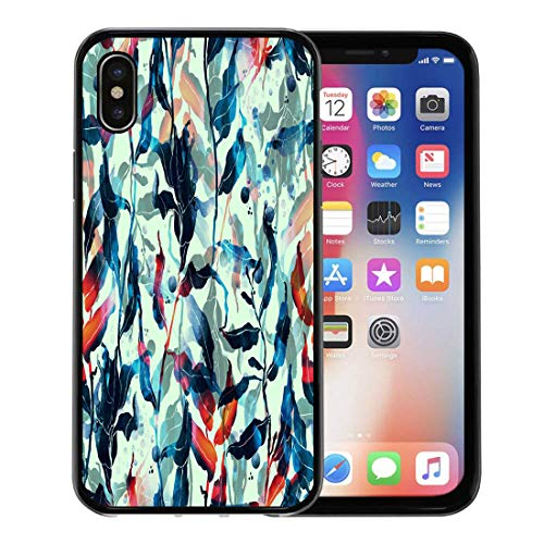 - Semtomn Phone Case for Apple iPhone Xs case,Imprint of Algae Digital Drawing and Watercolor Botanical Wallcovering Boho Chic Mixed Media Floral for iPhone X Case,Rubber Border Protective Case,Black