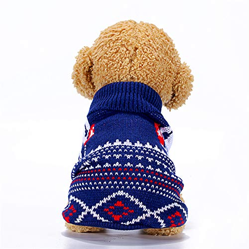 Dog Clothes High Collar Sweater for Pets Winter Keep Warm Clothing for Small Medium Dogs Cats Comfortable Sweater Costume KL014 Blue-KL014 S 30 x 18 cm