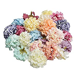 Memoirs- 10Pcs/lot 4.5cm Handmade Artificial Silk Hydrangea Flower Heads for Wedding Home Decoration Wreath Craft Gift Box Scrapbook DIY 39