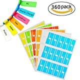 Color Label Printer - Hidreams Self-adhesive Cable Labels Tags Cable Label Stickers A4 Sheets Size Waterproof and Flexible Works with Laser Printer - 6 Assorted Colors 12 Sheets 360 Labels