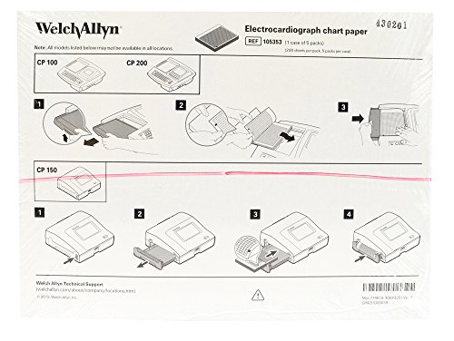 Welch Allyn 105353 Original Brand ECG Chart Paper CP100/CP200 - 200/PK