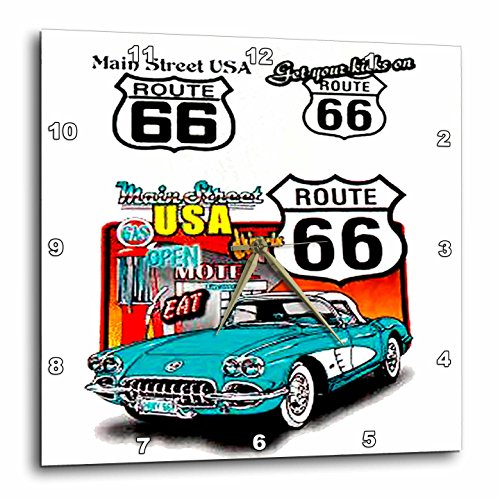3dRose dpp_1010_3 Route 66-Wall Clock, Route 66 Wall Clocks