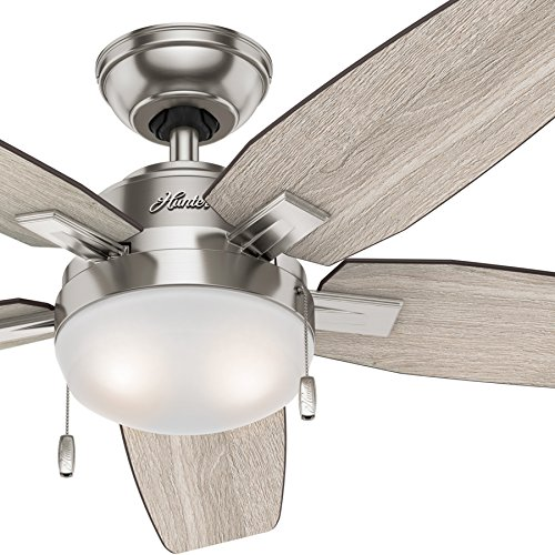 Hunter Fan 46 inch Contemporary Ceiling Fan with LED Light Kit, Brushed Nickel Renewed