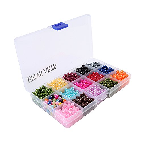 Efivs Arts 1000pcs 0.24inch (6mm) Tiny Satin Luster Round Imitation Glass Pearl Round Beads for DIY Bracelets,Necklaces, Key Chains with Box Kit,J001