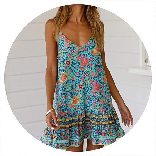 Vintage Floral Print Beach Summer Dress Women New V-Neck Ruffle Elegant Pleated Sundress Vestido Belt,01 Green,S (Lil Luxuries Whirlpool)