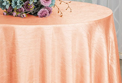 Wedding Linens Inc. 108 inch Round Crinkle Crushed Taffeta Tablecloths, Round Table Cover Linens for Round Banquet Tables - Apricot/Peach