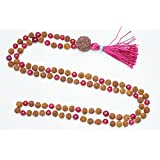 Bohemian Necklace Fourth Heart Chakra- Pink Jade Bead Rudraksha Prayer Mala Yoga Beads 108+1