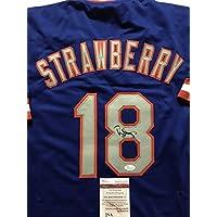 fan products of Autographed/Signed Darryl Strawberry New York Mets Blue Baseball Jersey JSA COA