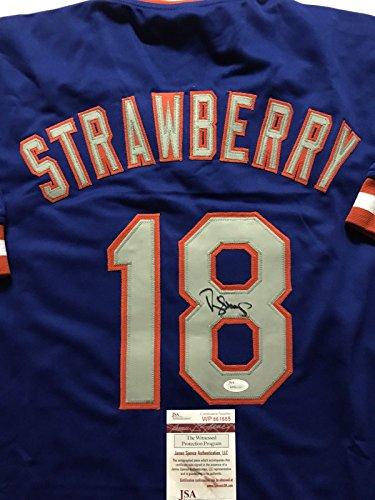 Autographed/Signed Darryl Strawberry New York Mets Blue Baseball Jersey JSA COA (Autographed Jersey Mets)