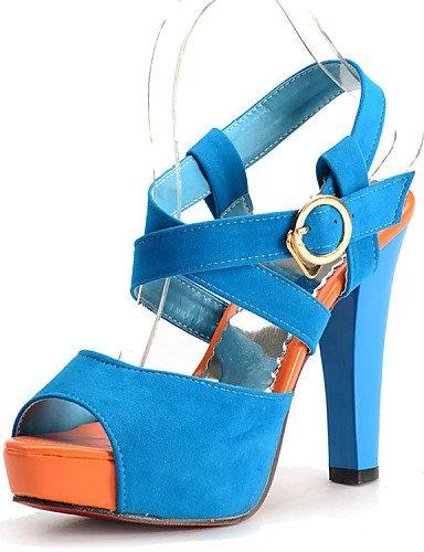 CITIOR Damen Plateau Schuhe Frauen Sandalen Büro Kleid Lässig Samt-Blockabsatz Absätze Plateau Schwarz/Blau/Lila/Rot, Lila-EU36,5/UK4/CN36 -
