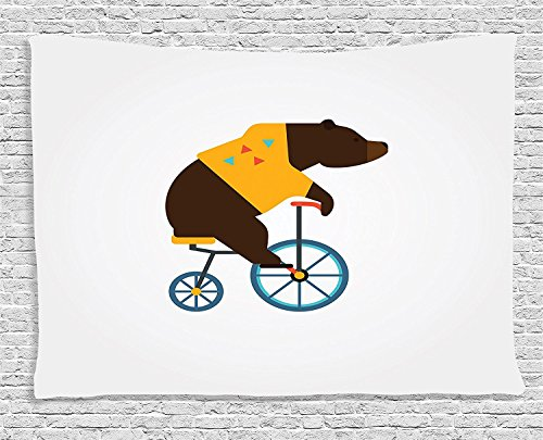 [Supersoft Fleece Throw Blanket Bicycle Collection Big Teddy Bear Icon of Circus Riding Bicycle with Trendy Hipster Costume Animal Image Brown] (Knife Throwing Circus Costumes)