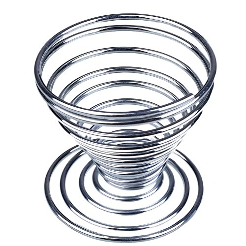 Ayhome Stainless Steel Spring Wire Egg Tray Cup Boiled Egg Holder Tray Lovely Storage Stand Cup- Set of 4