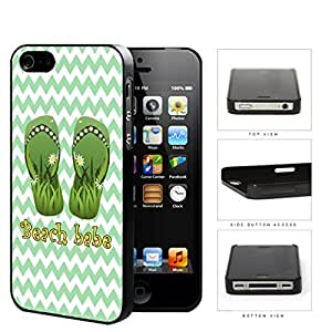 Beach Babe Sandals With Daisy Flowers Green Chevron Hard Plastic Snap On Cell Phone Case Apple iPhone 4 4s by icecream design