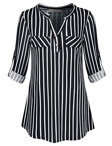 e for Women,Ladys Basic Career Tops Feminine Long Sleeve Split Neck Button Detail Printed Flowy Blouse Business Casual Striped Shirts Curved Hem Swing Tunic Stripes Large ()