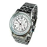 GuTe Pro Multi-functional Stainless Steel Mechanical Wristwatch White Auto HPH Tachymeter Day Date