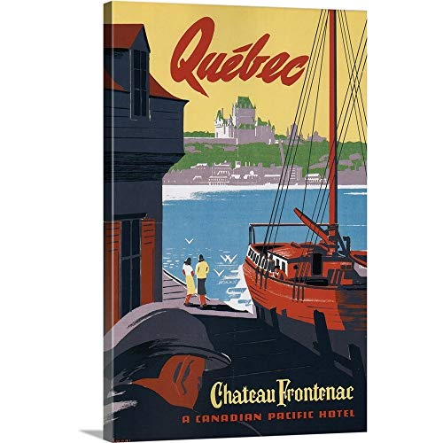 GREATBIGCANVAS Gallery-Wrapped Canvas Entitled Quebec Chateau Frontenac by Vintage Apple Collection 12
