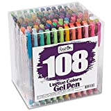 Zhen A Zhen 108 Colors Gel Pens,Gel Pen Set for Adult Coloring Books Art Markers Same As Picture