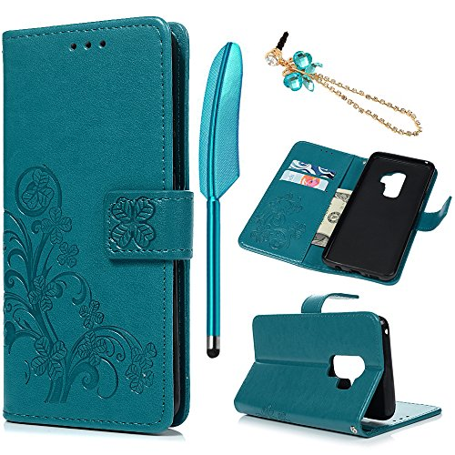 Galaxy S9 Plus Case, Emboss Four Leaf Clover PU Leather Wallet Credit Card ID Holders Design Flip Folio TPU Soft Bumper Ultra Slim Fit Cover for Samsung Galaxy S9 Plus by Mollycoocle, Blue