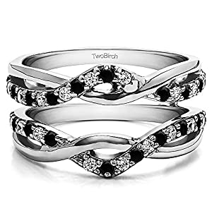 Black And White Cubic Zirconia Criss Cross Infinity Ring Guard Enhancer with 0.23 carats of Black And White Cubic Zirconia in Sterling Silver