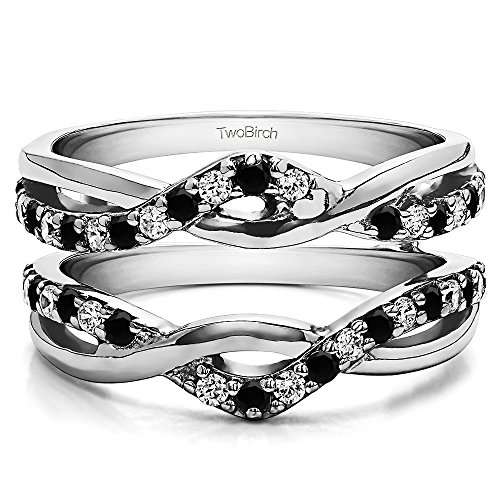 (TwoBirch 0.23 ct. Black And White Cubic Zirconia Black And White Cubic Zirconia Criss Cross Infinity Ring Guard Enhancer in Sterling Silver (1/4 ct. twt.))