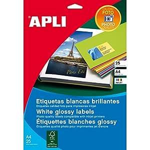 Etiquetas Apli Glossy Inkjet 199,6 x 289,1 mm. (10 hojas)