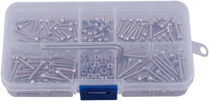 Eowpower 210Pcs M4 Stainless Steel 304 Allen Hex Socket Button Head Cap Bolts Screws Nuts Assortment Kit