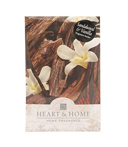 Heart and Home Sandalwood and Vanilla Large Scented Fragrance Sachet with Hanger