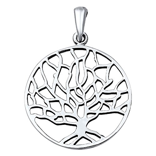 Tree of Life Pendant .925 Sterling Silver Cutout Charm - Silver Jewelry Accessories Key Chain Bracelet Necklace Pendants