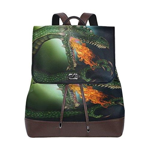Green Dragon Real Leather Shoulder Backpack Daypack School Laptop Bag for Women ()