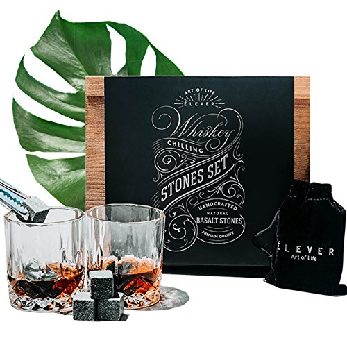 Whiskey Glasses and Stones Gift Set - Luxury Drink Kit with Premium Basalt Chilling Rocks (8 cubes), Glasses of 2, Tongs, Velvet bag in Exclusive Wood Decor Box - for (Engraved Textured Stainless Steel Flask)