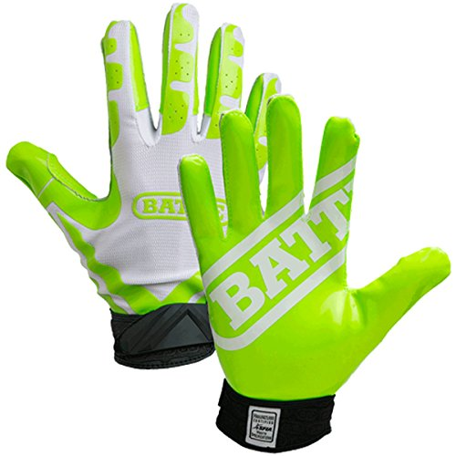 (Battle Receivers Ultra-Stick Football Gloves - Youth XL - White/Neon Green)