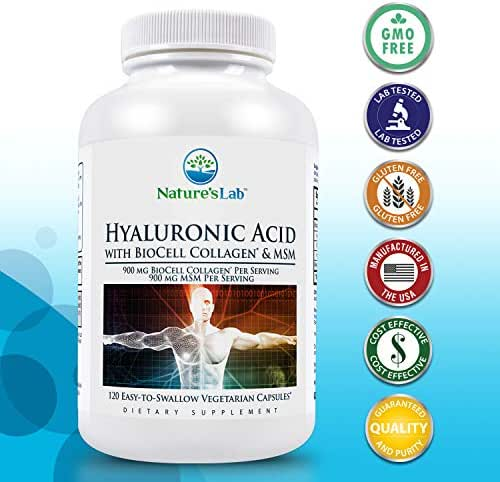Hyaluronic Acid with Biocell Collagen and MSM - 60 Capsules (20 Day Supply) Skin Hydration, Joint Lubrication, UVB Protection, Methylsulfonylmethane