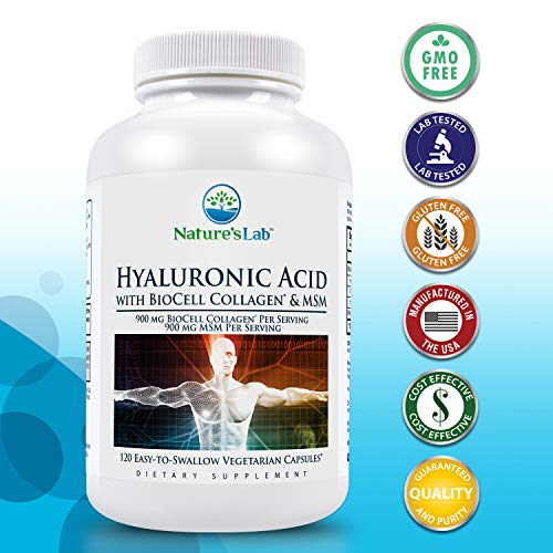 Nature's Lab Hyaluronic Acid with BioCell Collagen and MSM - 60 Capsules