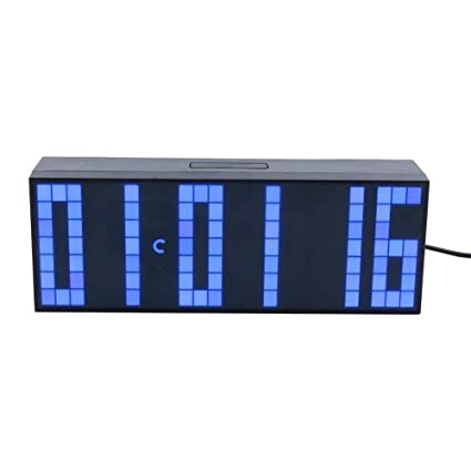 6137e4850136 Fdit Relojes LED Digital Grande con Alarmas Despertadores Electrónicos Reloj  con Controlador Remoto (Azul