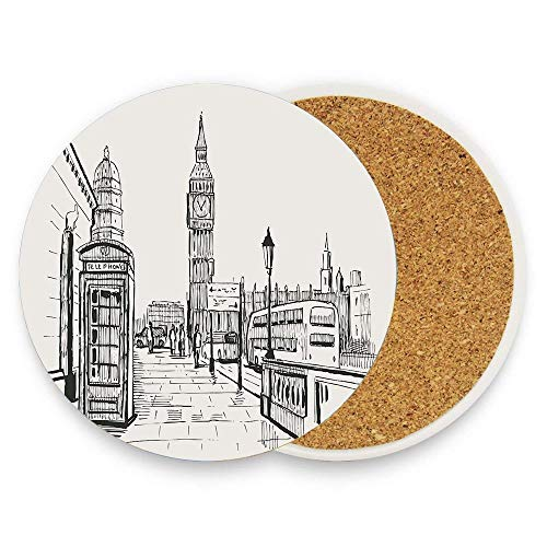 HappyToiletLidCoverX London City with Big Ben Monument Scene in Sketch Style British Famous Town Artwork Coaster for Drinks,Wallpaper Ceramic Round Cork Table Cup Mat Coaster Pack Of -