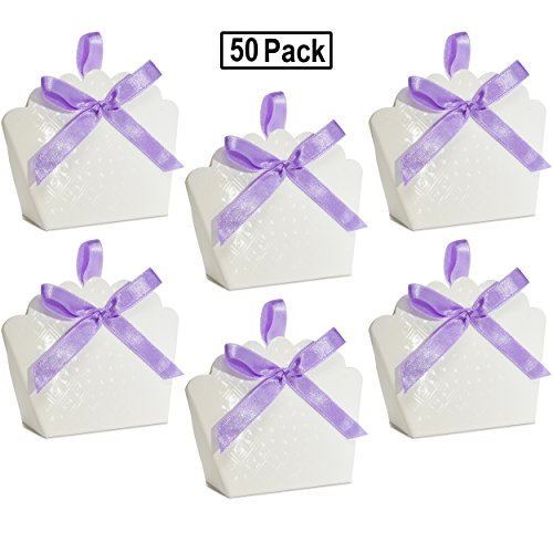 50 Scalloped White Favor Bag Boxes Craft Kit with Diamond Pattern for Guest Candy Goodie Treat Bags Party Supplies Decorations Wedding Reception Birthday Celebration Baby & Bridal Shower -