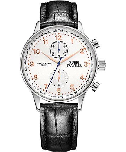 BUREI Men Dress Chronograph Watch Arabic Numerals Analog Quartz Stopwatch with Black Leather Band