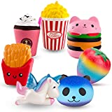 R.HORSE Cute Unicorn, Hamburger, Popcorn Set Kawaii Cream Scented Squishies Slow Rising Decompression Squeeze Toys Kids Stress Relief Toy Hop Props, Decorative Props Large (7 Pack)