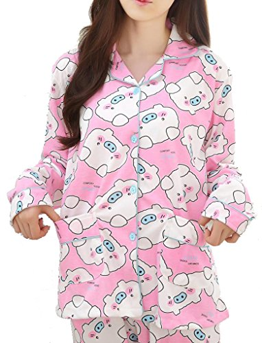 VENTELAN Women's Cute Pattern Pig Printed Cardigan Pajamas Set Lapel (Funny Womens Pajamas)