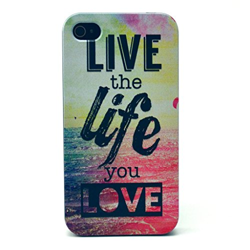 Iphone 4 case, JAHOLAN Live the Life You Love Quotes Black Bumper Hard Plastic Case Silicone Skin Cover for Apple Iphone 4s 4