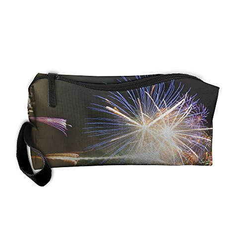 e6e1d893c2e9 Fireworks At Riverside Pattern Makeup Bag Printing Girl Women Travel ...