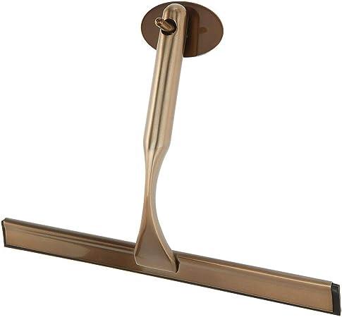 mDesign Rasqueta limpia cristales para baño – Práctico accesorio para limpiar mamparas de ducha o ventanas – Limpiavidrios de metal y plástico con gancho autoadhesivo para colgar – color bronce: Amazon.es: Hogar