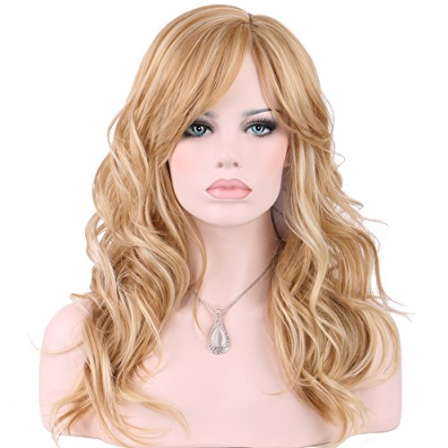 KeeWig Synthetic Blonde Wig Long Wavy Light Butterscotch with Pale Blonde Highlights KATE #24BH613