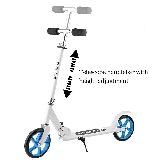 Homgrace Patinete Ajustable de Aluminio Robusto con 2 Ruedas Grandes de Poliuretano y Mecanismo Plegable para Adultos y Niños