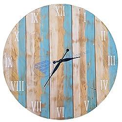 Antique Weathered Vintage Wall Clock   Hand Crafted Decor   Nagina International by Nagina International (36 Inches)