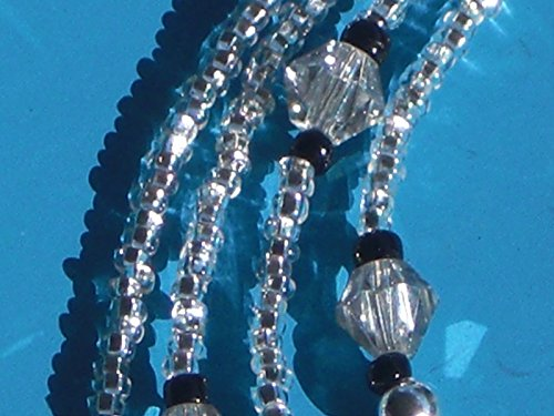 Eyeglass Chain Handmade Silver-Lined Clear with Faceted Glass accents 28 inches Fancy ()